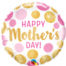 "Mothers Day Pink & Gold Dots Foil Balloon (18"") 1pc"